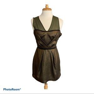 Charlotte Ronson Dress Green Gold Silk Size 6